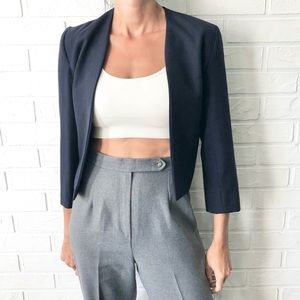 Vintage 80s navy cropped fitted wool jacket blazer